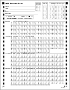 ISEE B&W Answer Sheet