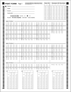 PSAT B&W Answer Sheet